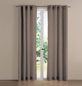 Rideau occultant NF City taupe effet lin L280xH180 oeillets