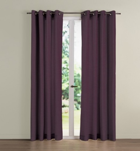 Rideau occultant NF City aubergine effet lin L140xH180 oeillets